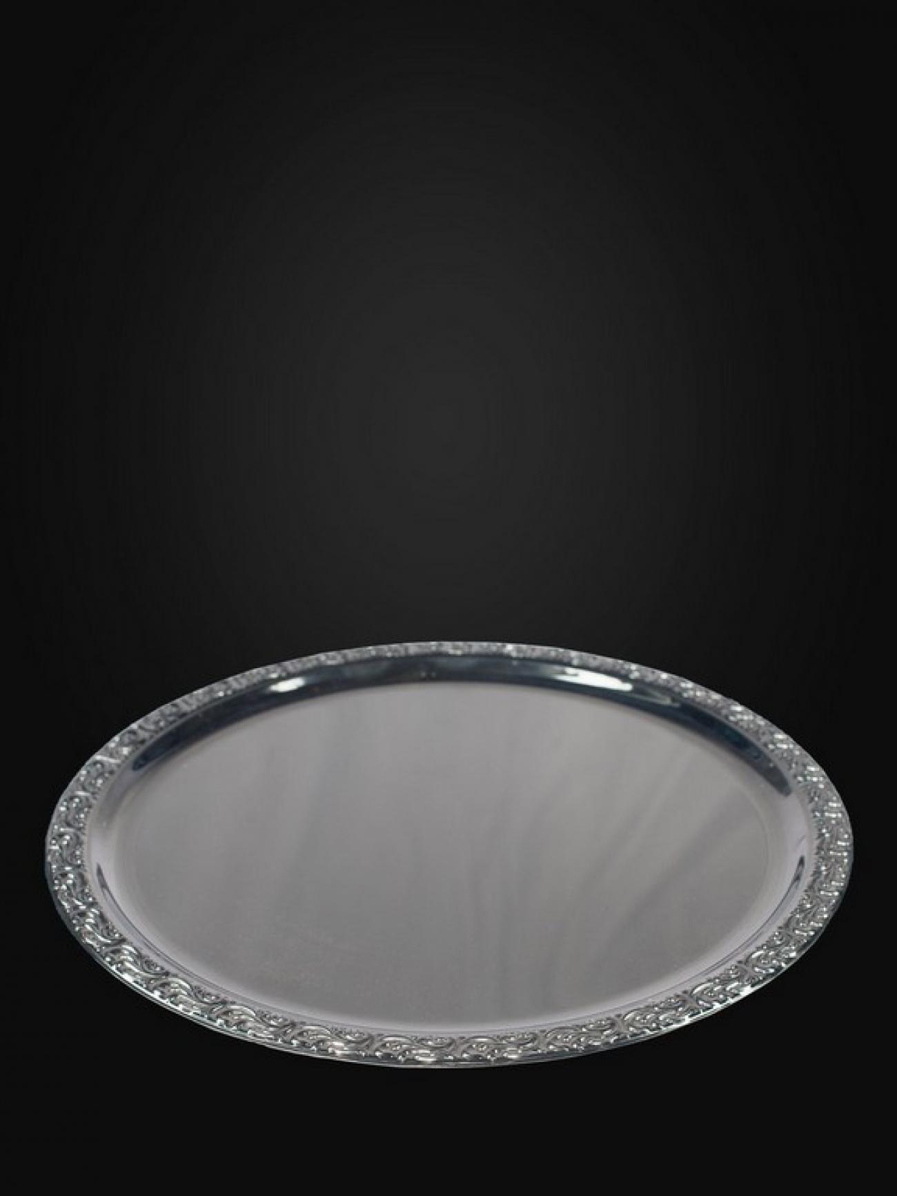 Металлический поднос серебро