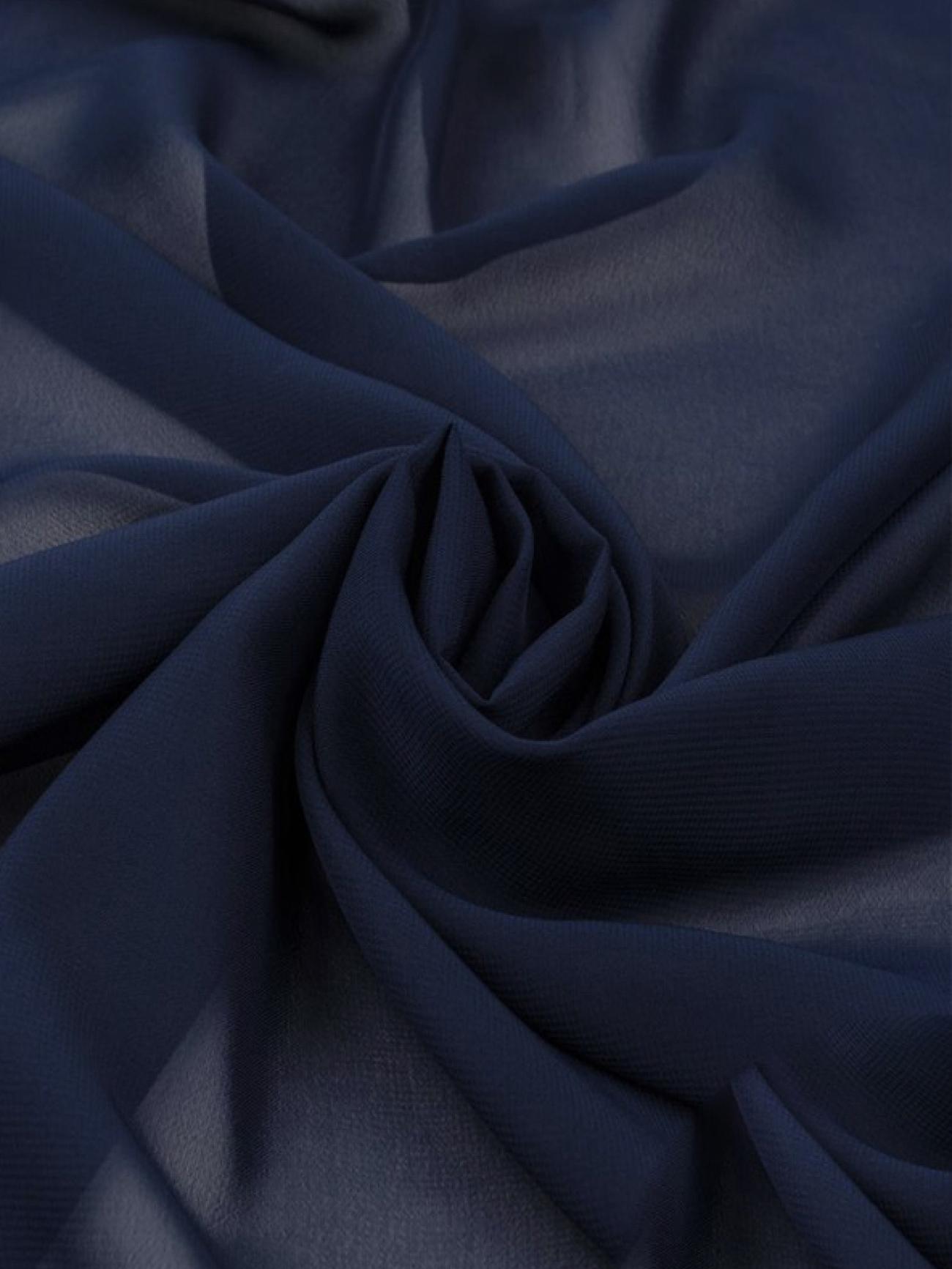 Скатерть шифоновая темно-синяя круглая