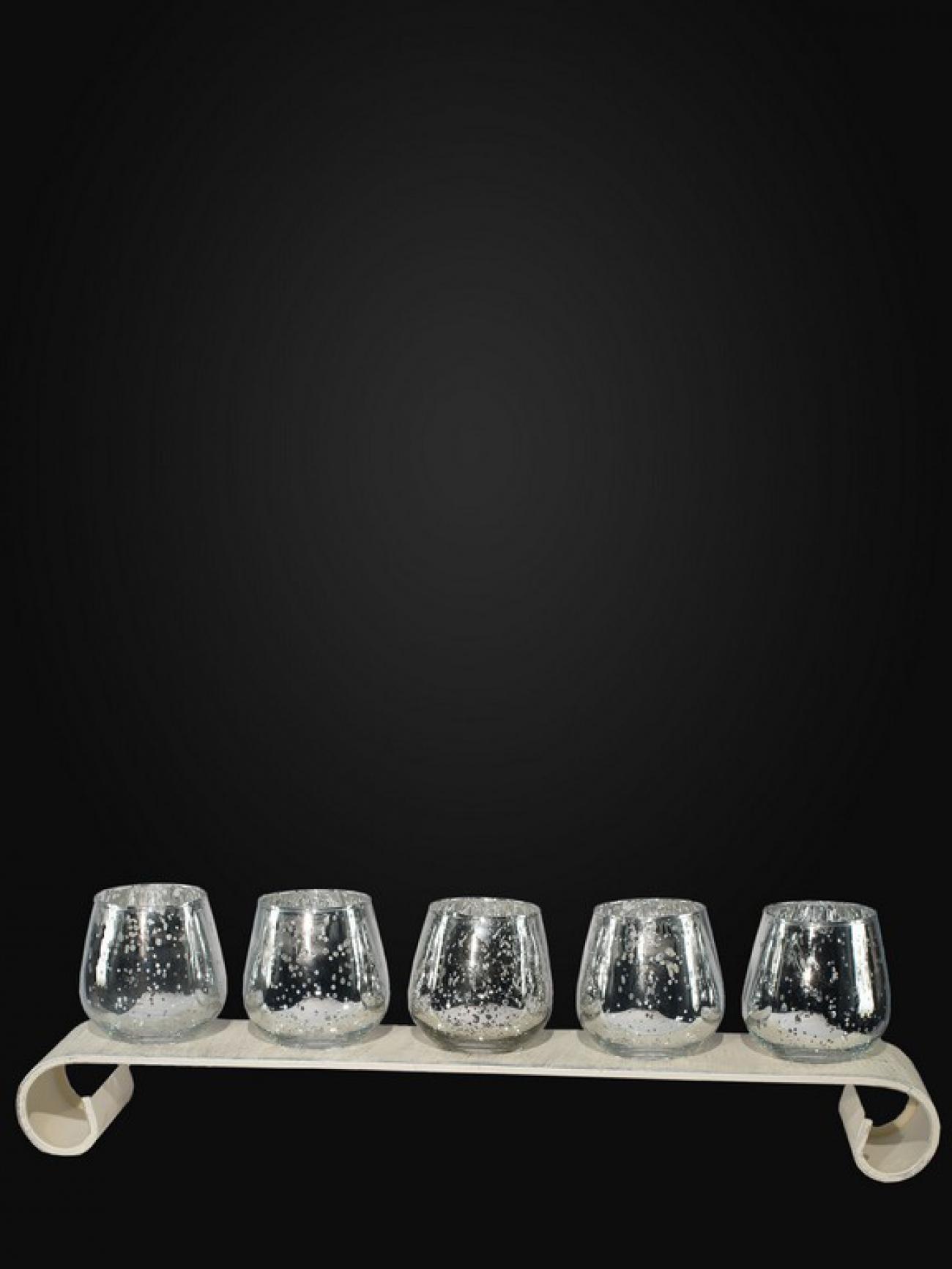 Подсвечники стекло с серебряной патиной