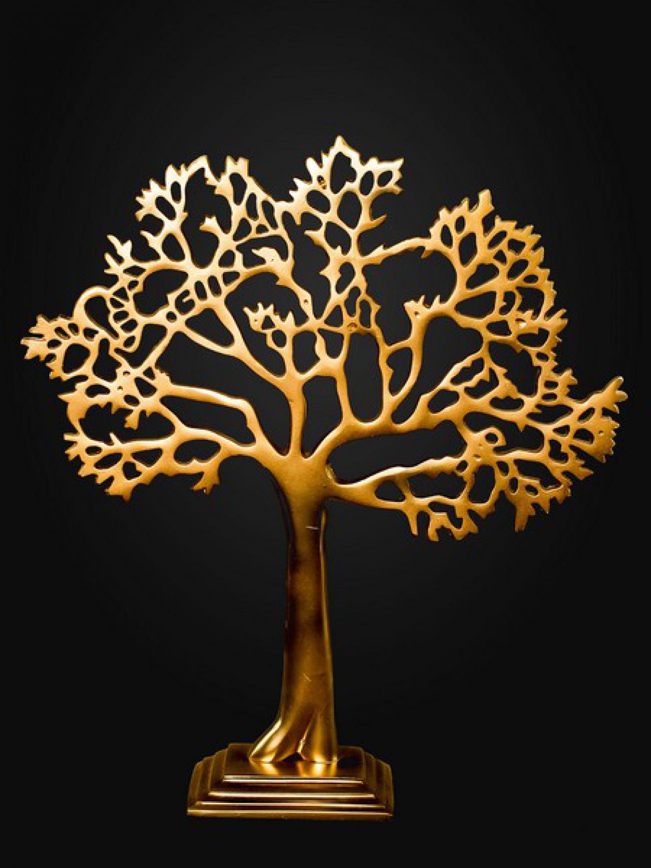 Деревце металлическое золото